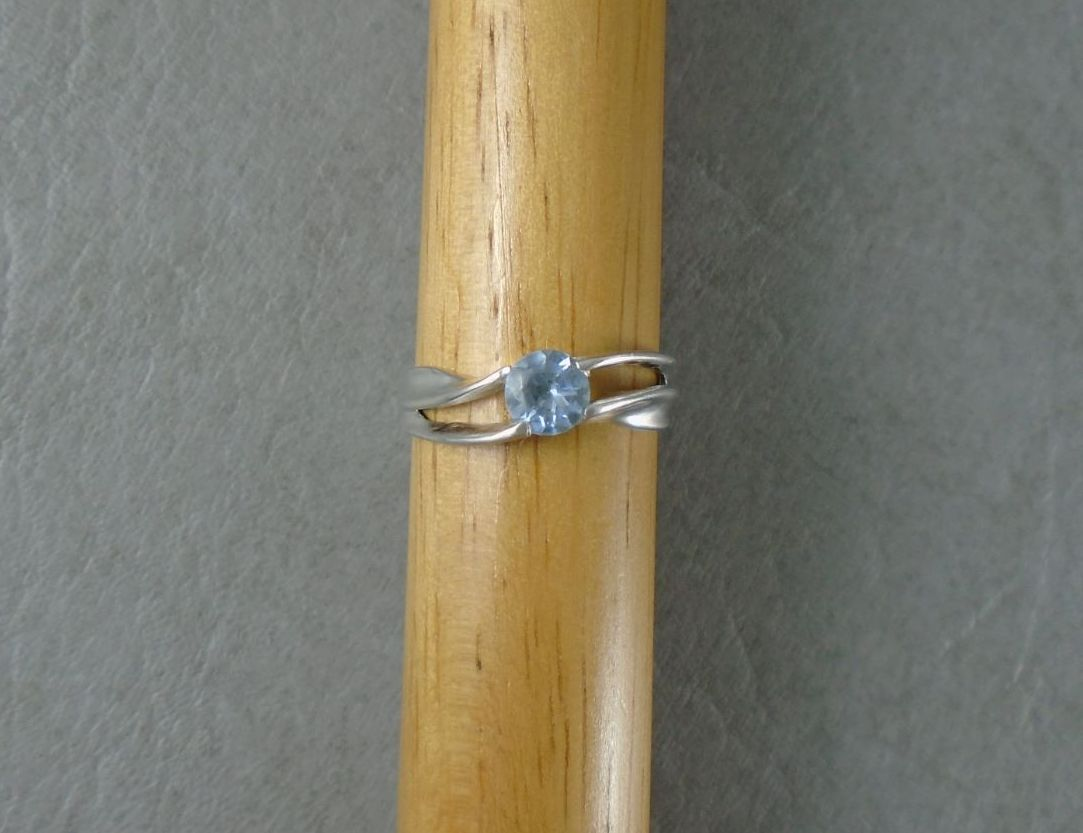 Sterling silver ring with a pale blue stone