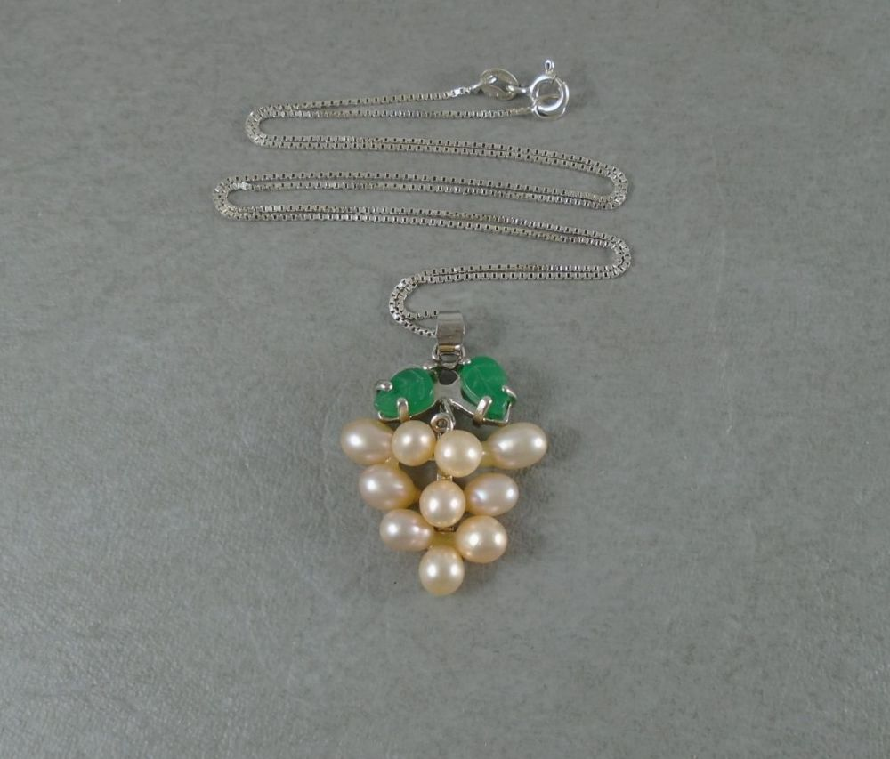 Sterling silver & cultured pearl grapes necklace