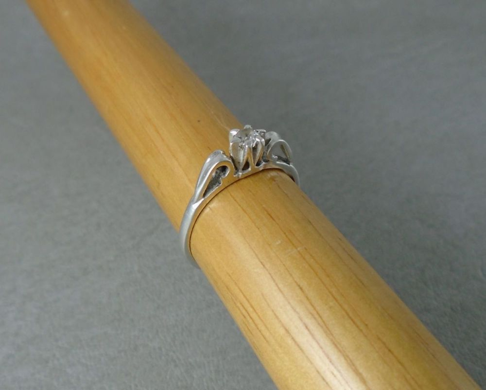 Vintage silver solitaire ring