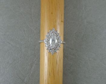 Sterling silver marquise cluster ring