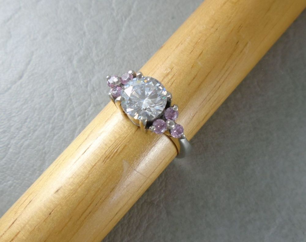 Sterling silver ring with pink & clear stones