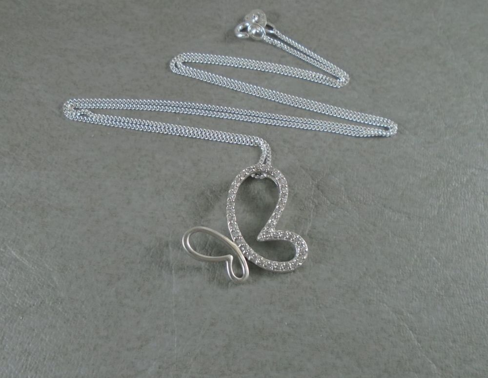 Sterling silver half stoned butterfly necklace