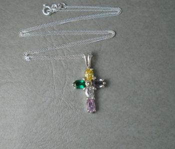 Small sterling silver & multi-colour stone cross necklace