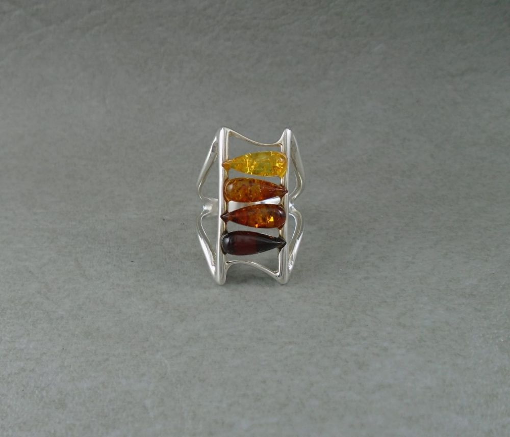 Sterling silver & multi-amber ring