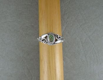 Sterling silver & abalone ring with fancy shoulders