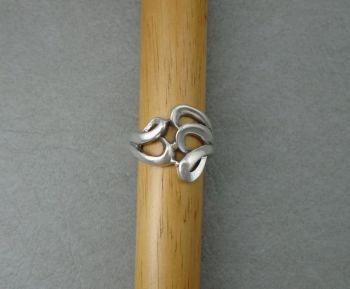 Wide asymmetric sterling silver ring