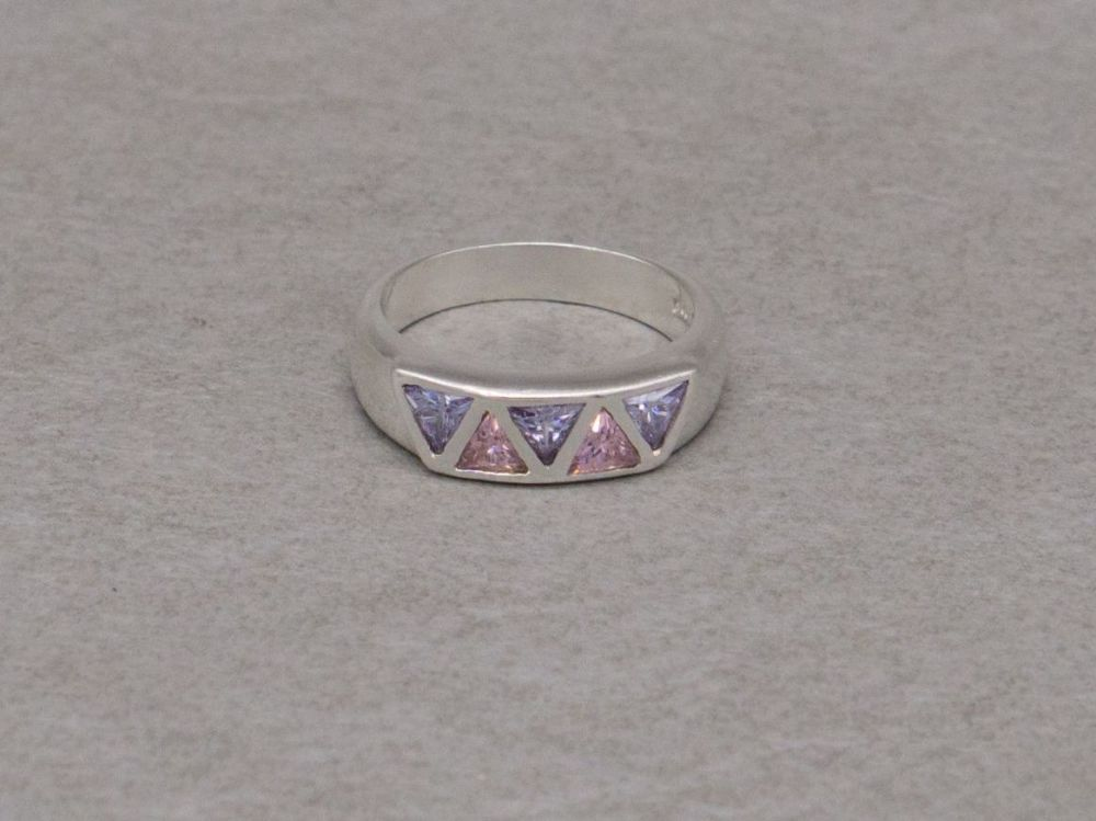 Sterling silver ring with triangular pink & lilac stones