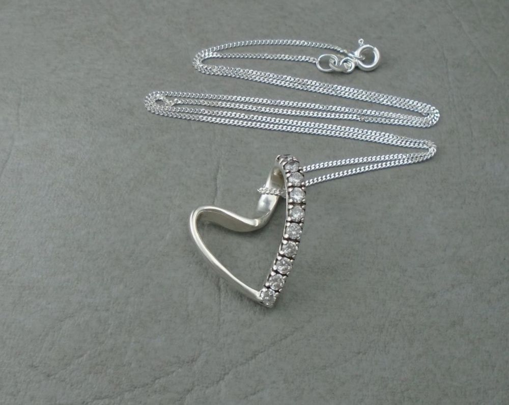 Sterling silver stone set floating heart necklace