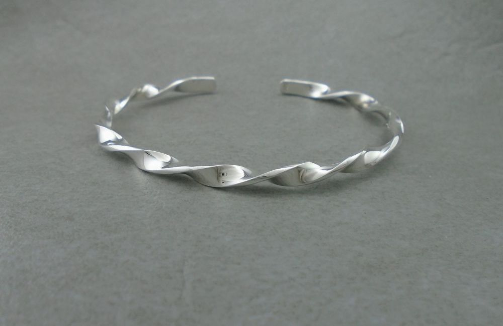 Sterling silver twisted cuff