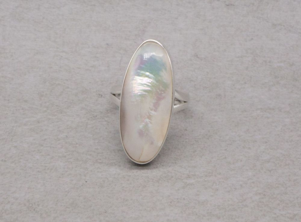 Wide sterling silver & mother of pearl ring