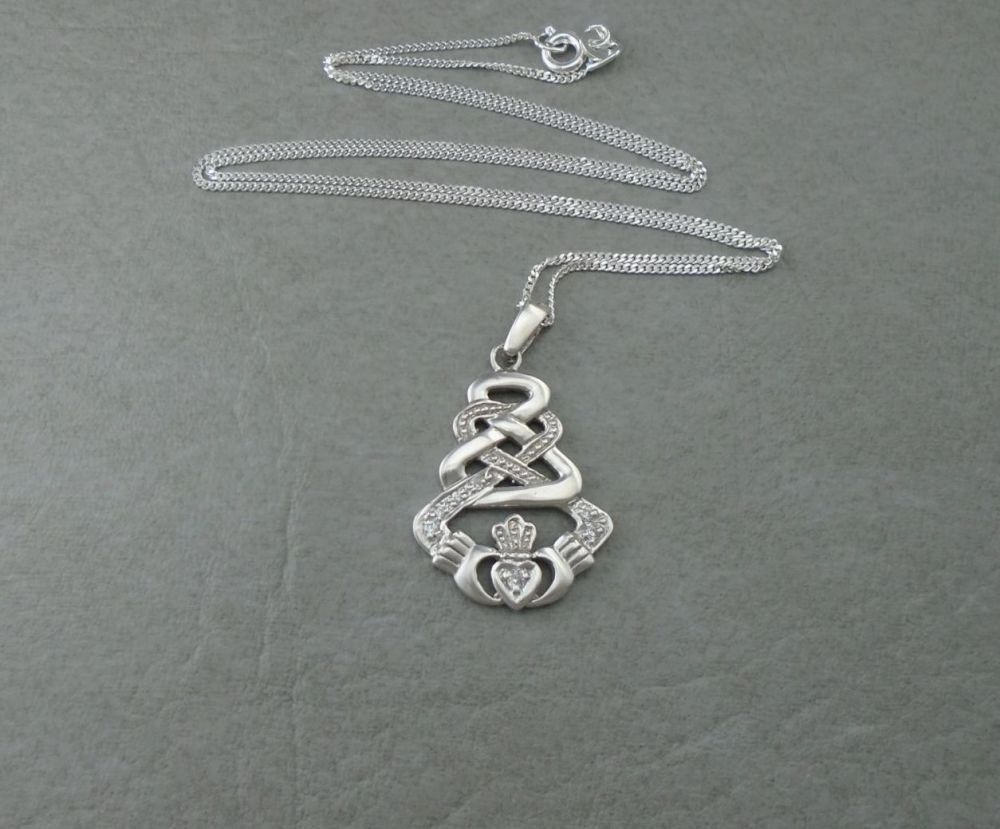 Sterling silver stone set cladddagh necklace