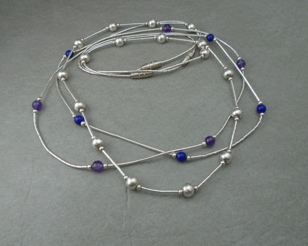 Trio of sterling silver bead necklaces