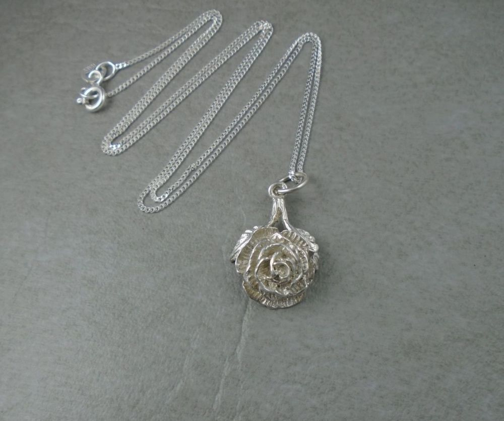 Sterling silver 3D rose necklace
