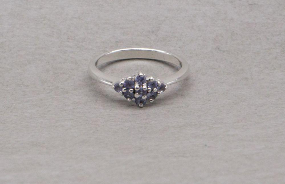 Dainty sterling silver & tanzanite ring