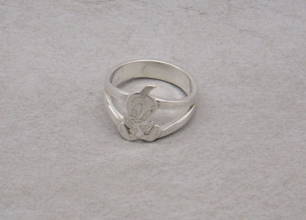 Handmade sterling silver 'Tweety Pie' ring