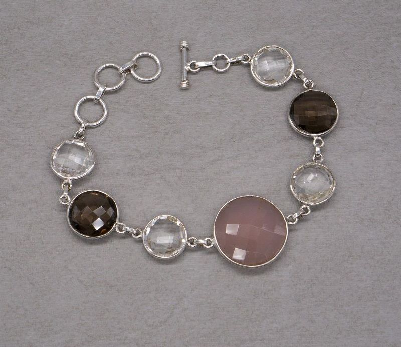 Sterling silver rose, smokey & clear quartz toggle bracelet