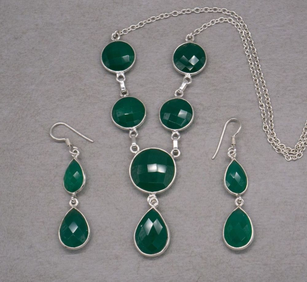 Sterling silver & faceted green onyx necklace & earring set