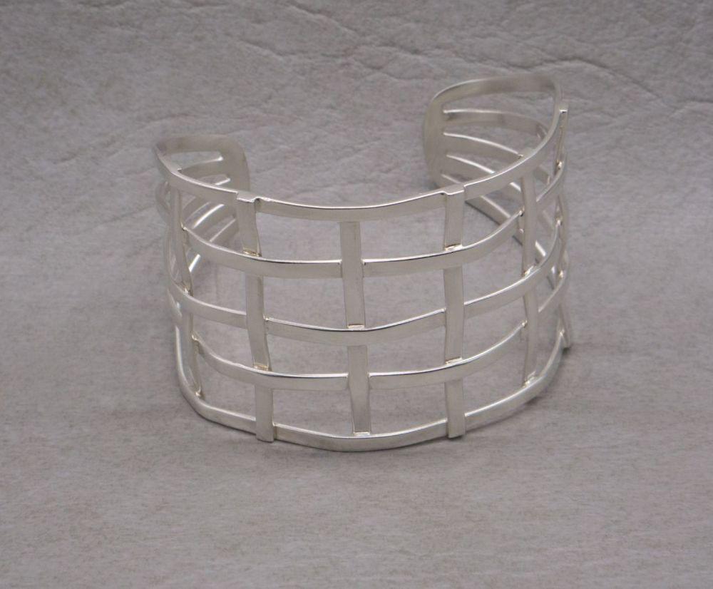 Wide sterling silver basket weave cuff