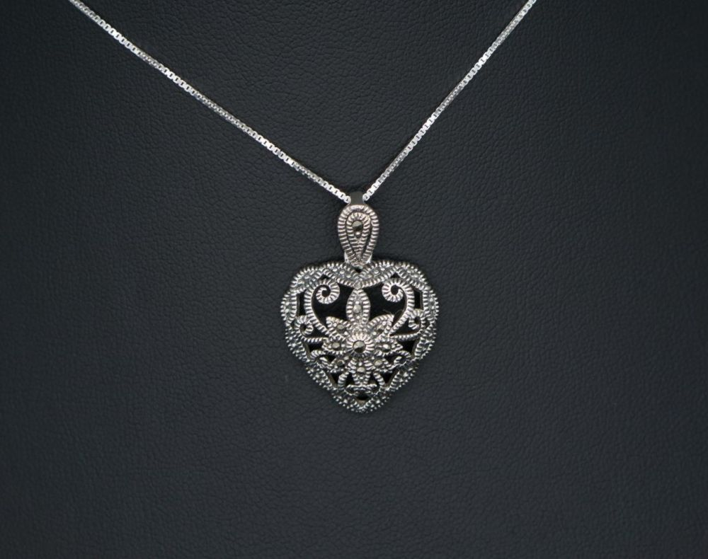 Sterling silver & marcasite heart necklace