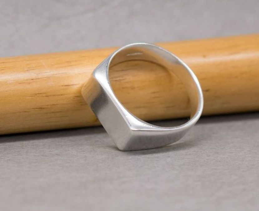 Solid sterling silver rectangular signet ring