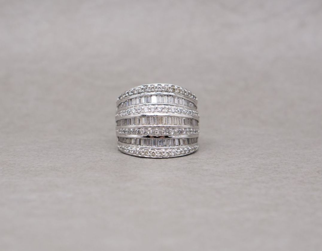 Wide sterling silver & multi-cut stone cocktail ring