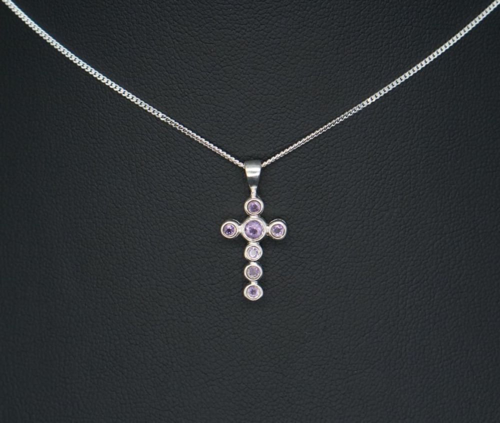 Small sterling silver & amethyst cross necklace