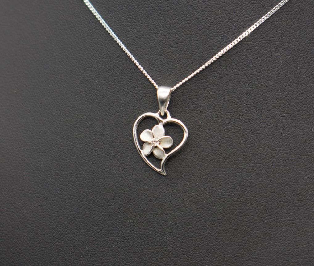 Sterling silver flower in heart necklace