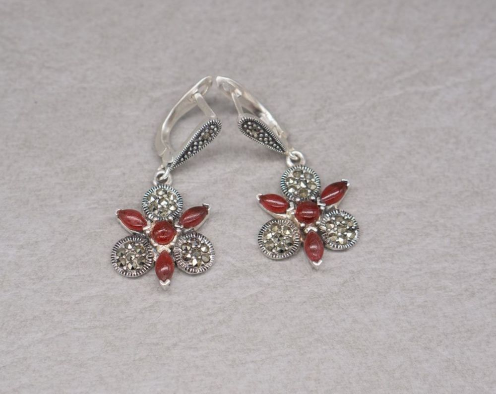 Sterling silver, marcasite & red stone floral earrings