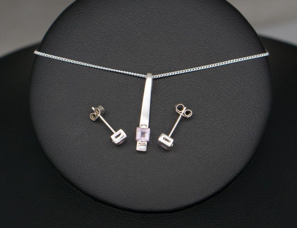 Sterling silver & amethyst necklace & stud earring set