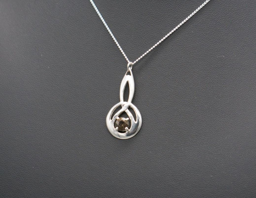 Vintage sterling silver & smokey quartz celtic drop necklace