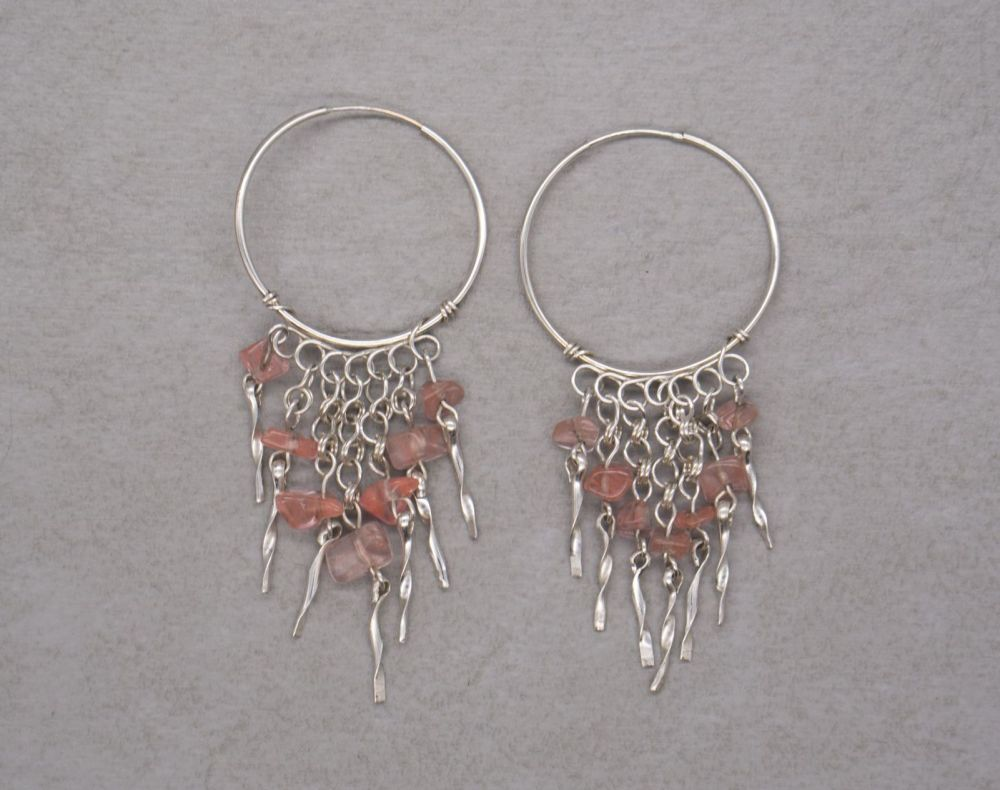 Sterling silver hoop earrings with rose quartz fringe
