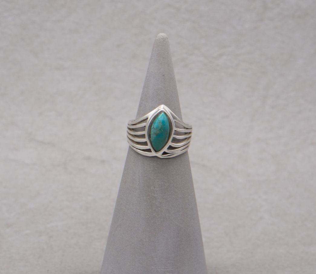 Sterling silver & imitation turquoise wishbone ring