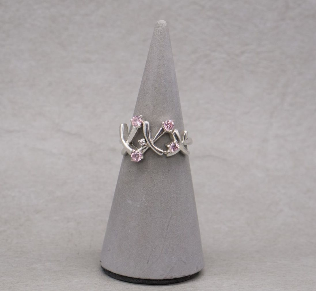 Sterling silver 'kisses' ring with pink & clear stones