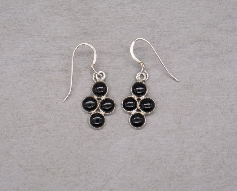 Sterling silver & black onyx cluster earrings