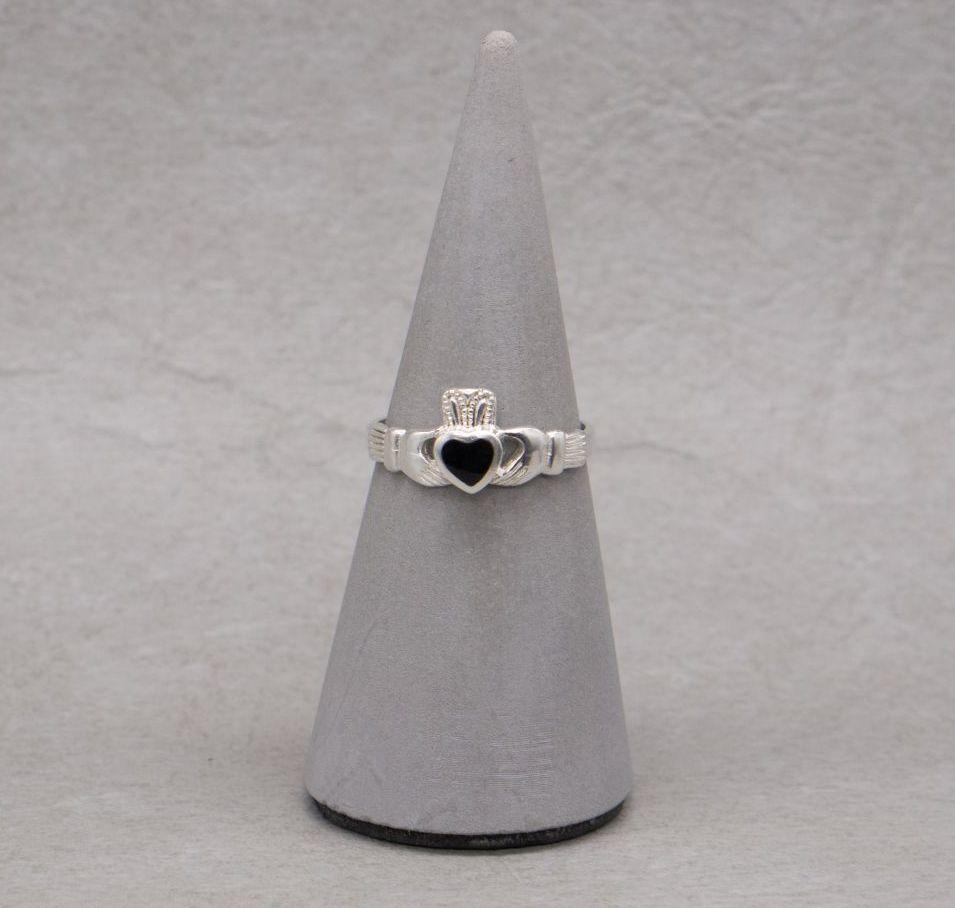 Sterling silver & black onyx claddagh ring
