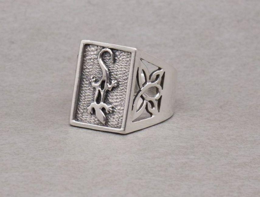 Huge sterling silver lizard ring