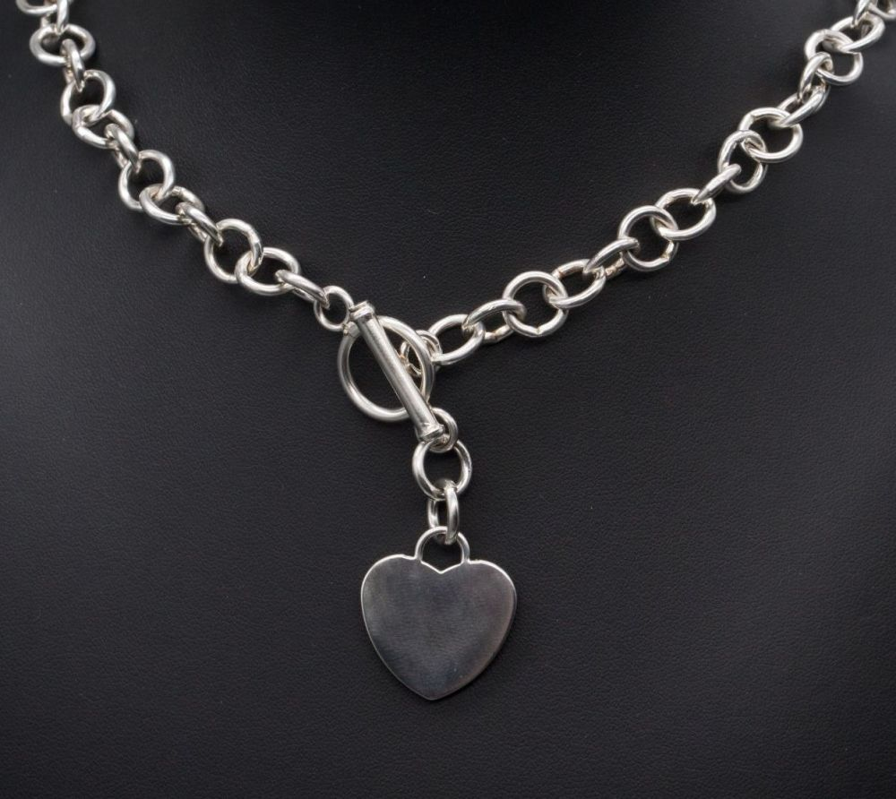 Heavy sterling silver toggle necklace with single solid heart tag