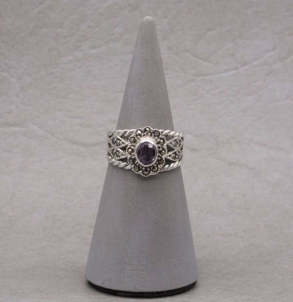 Sterling silver, marcasite & amethyst ring