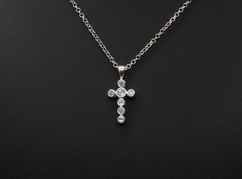 Sterling silver & blue topaz cross necklace