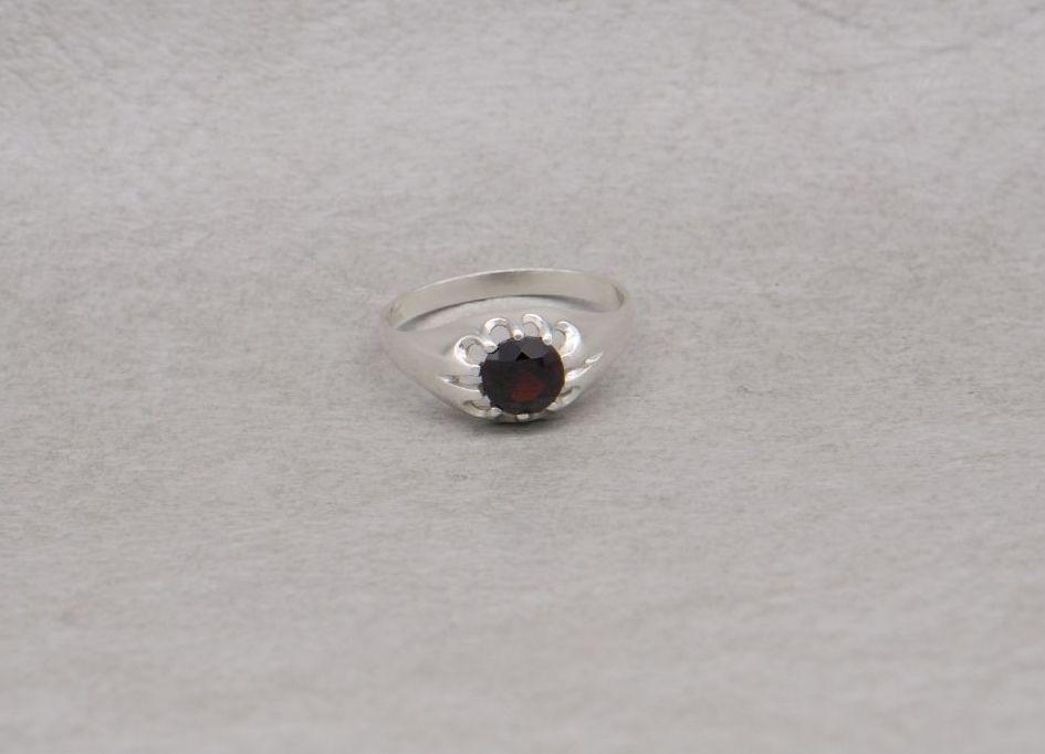 Sterling silver gypsy set garnet ring