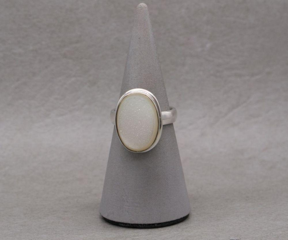Sterling silver & white druzy quartz ring