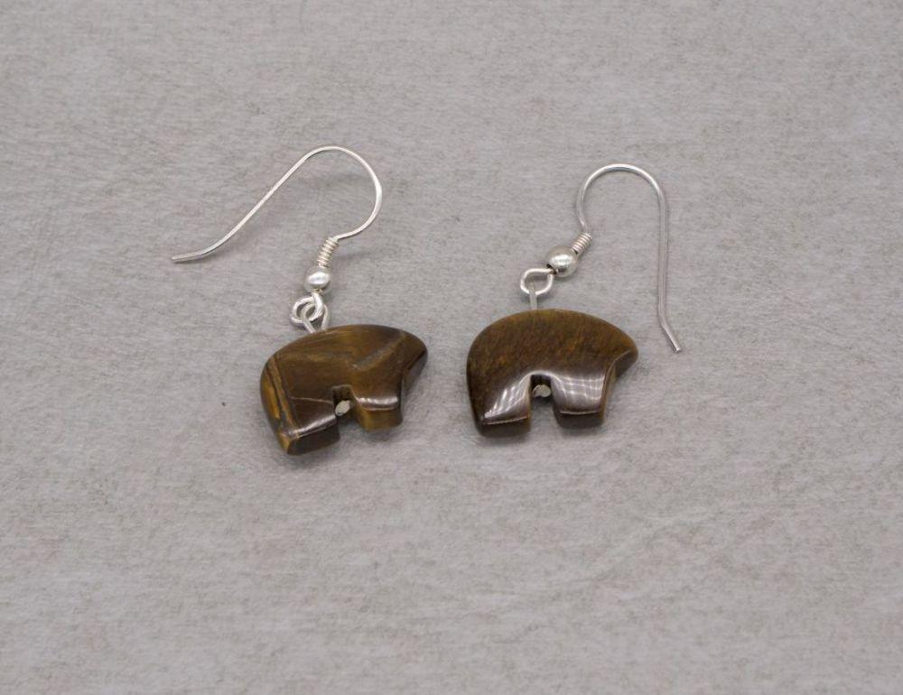 Sterling silver & tiger's eye bear earrings