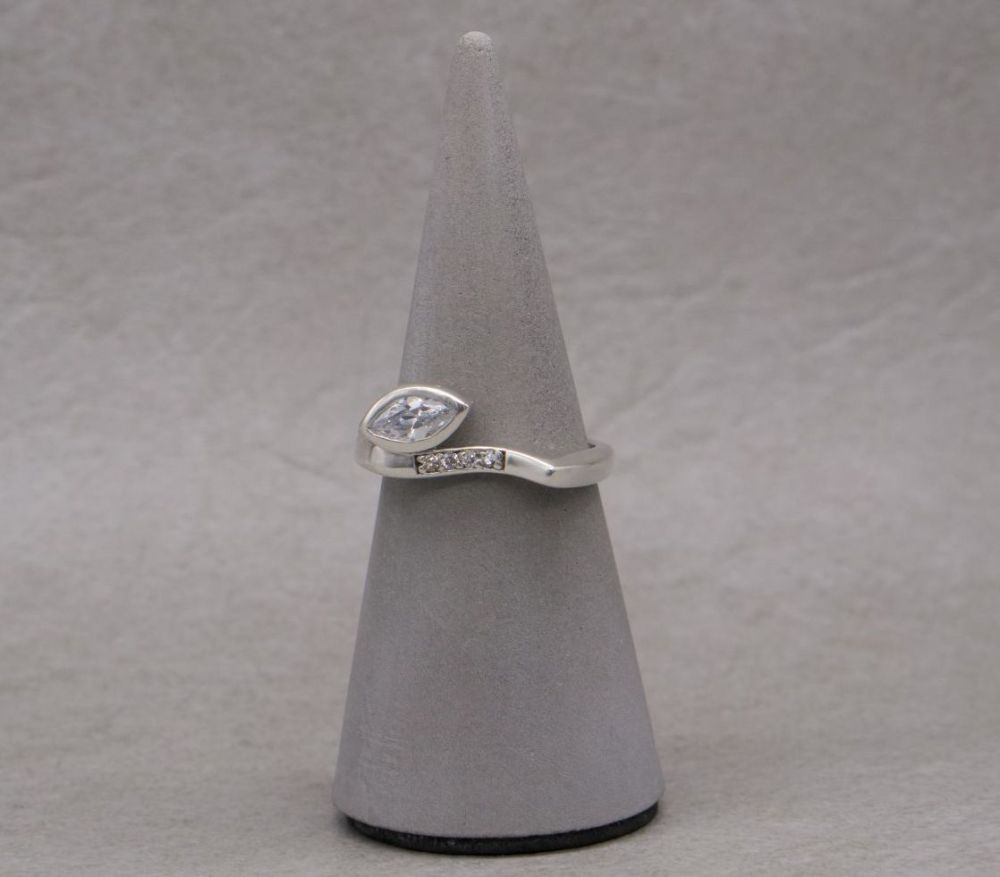 Unusual asymmetric sterling silver & multi-cut stone ring