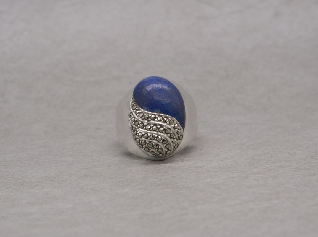 Chunky domed sterling silver, lapis & marcasite ring