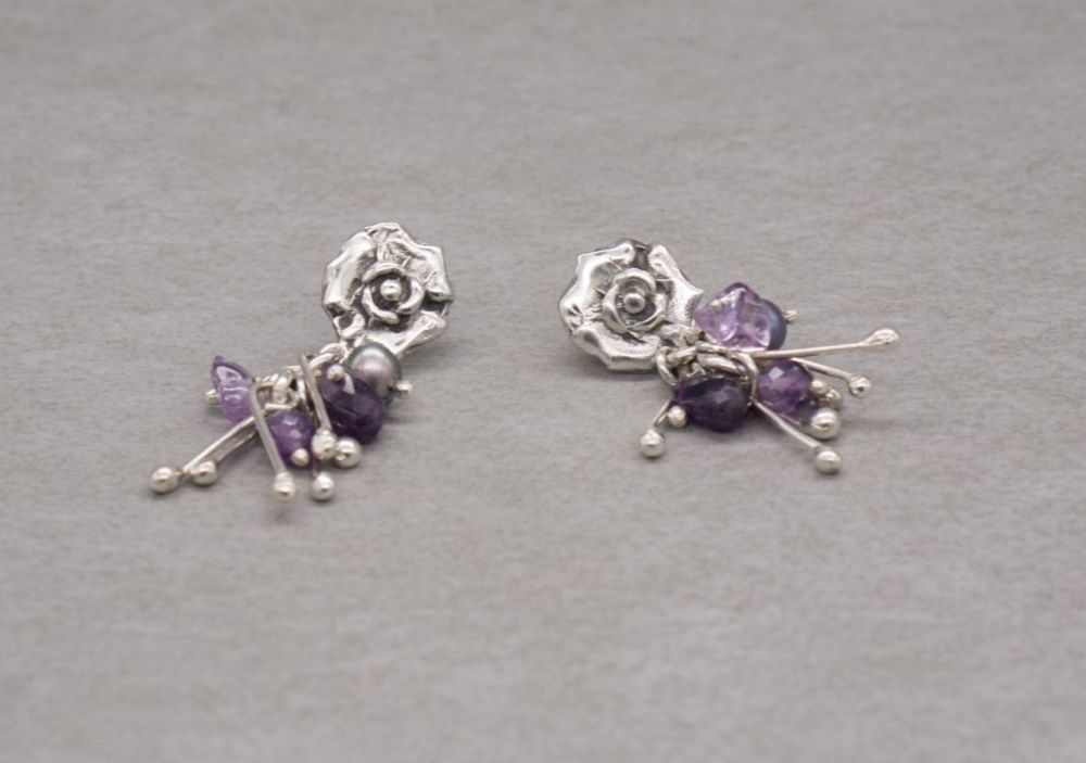 Handmade sterling silver flower earrings with amethyst & cultured pearls
