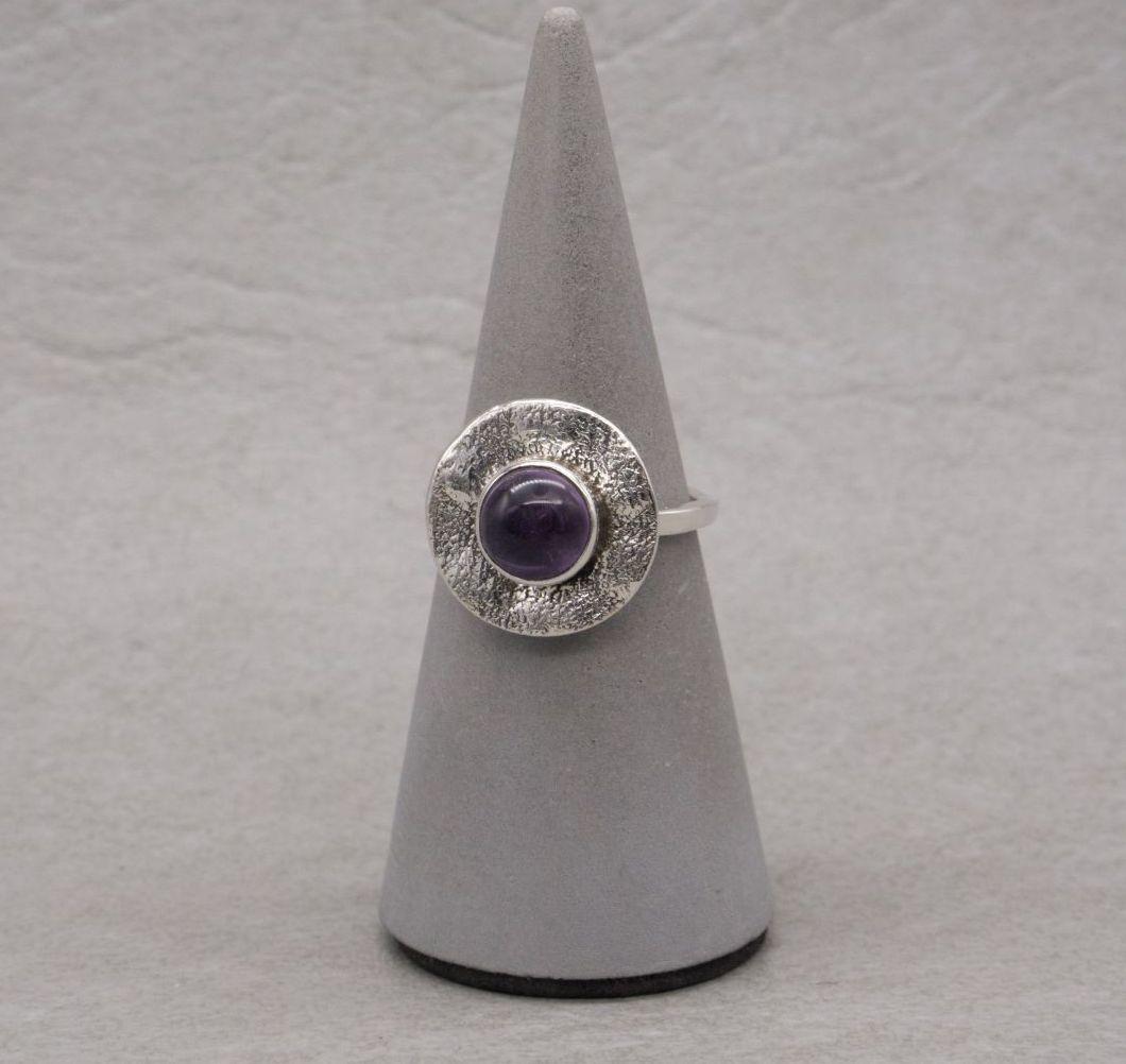 Handmade sterling silver & amethyst ring