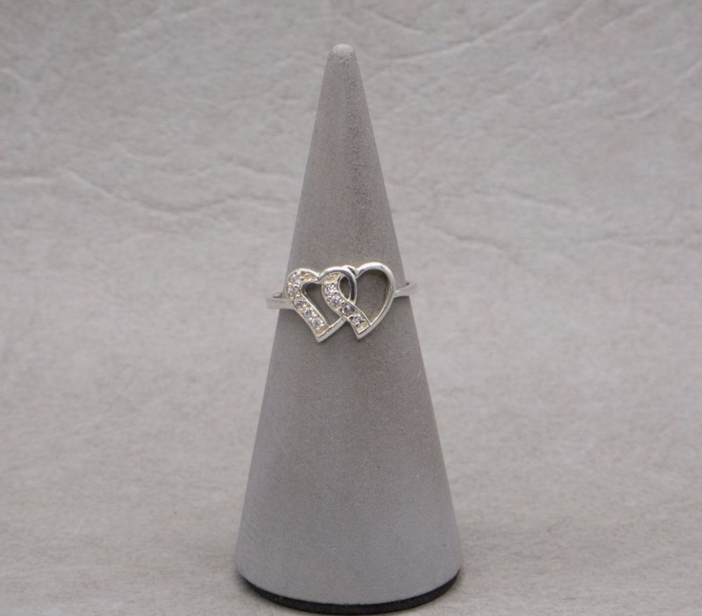 Sterling silver & clear stone double heart ring