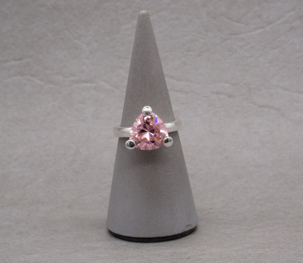 Chunky triangular sterling silver & pink stone solitaire ring