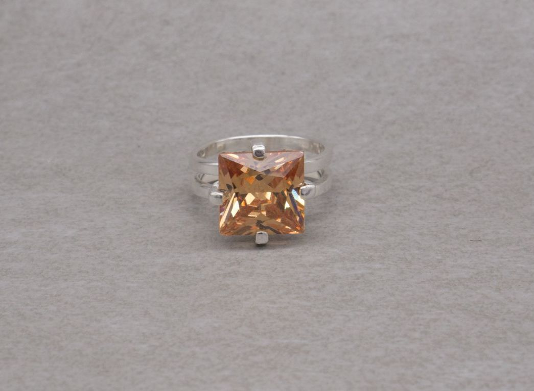 Chunky sterling silver & orange stone solitaire ring