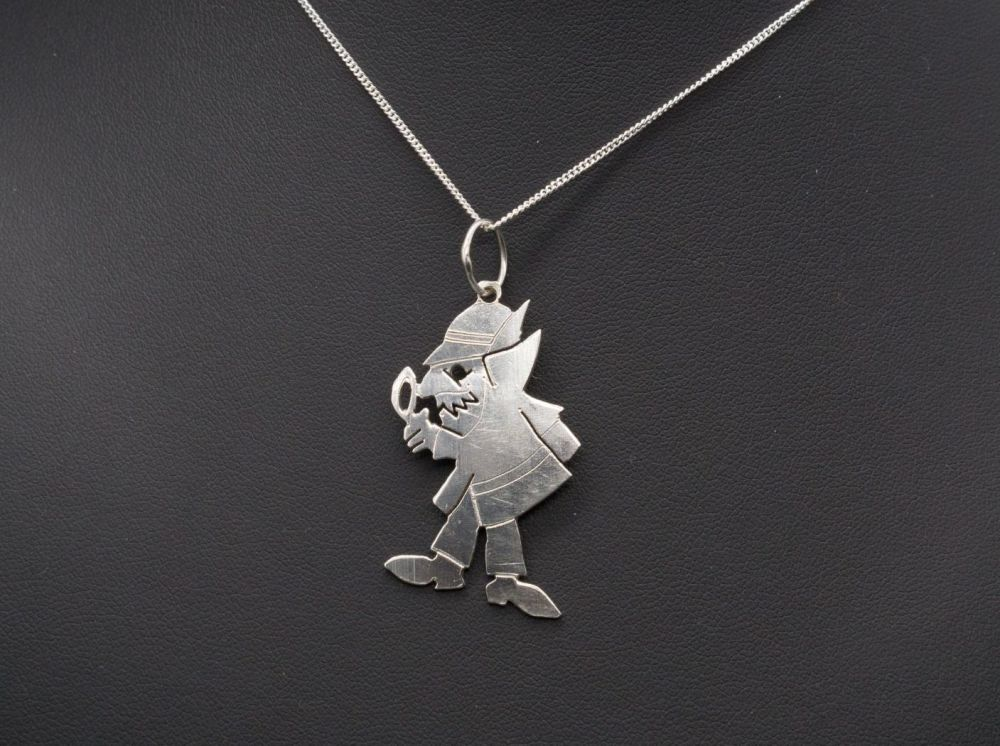 Quirky handmade sterling silver 'detective' necklace